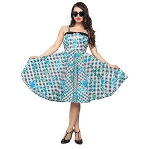 Steady Retro Gingham Floral Swing Dress